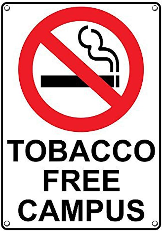 Weatherproof Plastic Vertical Tobacco Free Campus Sign With English Text And Symbol