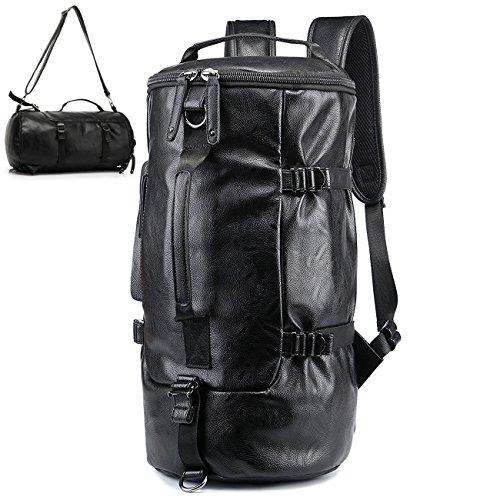 BAOSHA TB-01 in pelle sintetica Zaino Borsa da Viaggio Borsone Sportivo per Palestra Weekender Duffel Bag Zaino a Tracolla Weekend Bag Borsoni Tote , Colore: nero