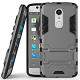 Case for ZTE Axon 7 Mini (5.2 inch) 2 in 1 Shockproof with Kickstand Feature Hybrid Dual Layer Armor Defender Protective Cover (Grey)