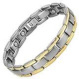 Willis Judd Mens Titanium Magnetic Bracelet Two Tone Adjustable