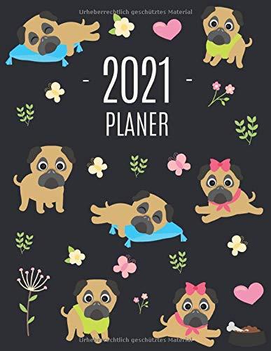 Mops Planer 2021: Wochenplaner 2021 mit Raum für Notizen | Januar - Dezember 2021 mit Wochenansicht | Einfacher Überblick über die Terminpläne | Agenda Organizer Terminplaner