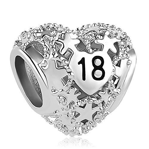 Lifequeen - Abalorio para Pulsera, diseño de corazón con Texto en inglés Love Sweet 16th 18th Birthday