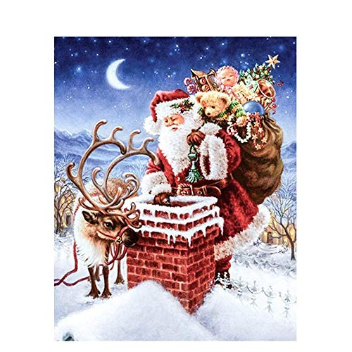 DIY Digital Painting Without Frame,Art New Paint by Numbers for Adults Children,Home Living Room Office White Christmas New Year Valentine Decor Decorations Gifts- Santa Claus