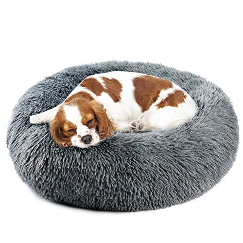 Vanansa Hundebett für Hunde und Katzen, Rundes Katzenbett Donut Plüsches Bett für Süßen Schlaf für Ihre Kleine Tiere Dunkelgrau 70cm