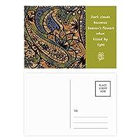 古典的な抽象ロータス魚のパターン 詩のポストカードセットサンクスカード郵送側20個
