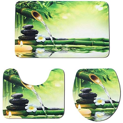 KEAINIDENI Wc-mat 3 Stks/Set Bamboe Print Niet Slip Toilet Badkamer Pad Vloer Mat Tapijt Absorbens Voetstuk Tapijt Deksel Toilet Cover Badmat as shown Groen