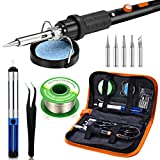 Soldering Iron Kit, Preciva 60W 220V Tin Soldering Iron, Adjustable Temperature 220 ℃ ~ 480 ℃, 5pcs Different Tips, Holder, 50g Solder Wire for Variously Repaired Use