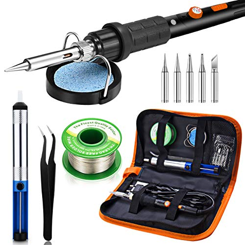 Soldering Iron Kit, Preciva 60W Adjustable Temperature Welding Tool with ON-OFF Switch, 5pcs Soldering Tips, Desoldering Pump, Lead-free Solder Wire, Soldering Iron Stand, Tweezers for Electrician