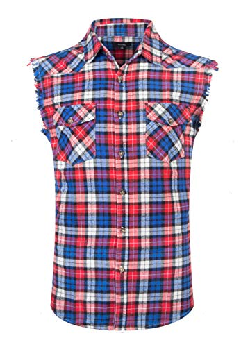 NUTEXROL Men's Casual Flannel Plaid Shirt Sleeveless Cotton Plus Size Vest Red&blue&white Medium