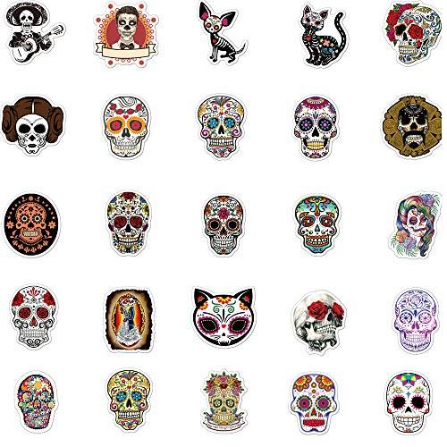 Sugar Skull Aufkleber für mexikanischen Tag der Toten (50 Stück), Halloween-Themen-Aufkleber, Laptop-Aufkleber, wasserdicht, für Fahrrad, Skateboard, Gepäck, Graffiti-Flicken