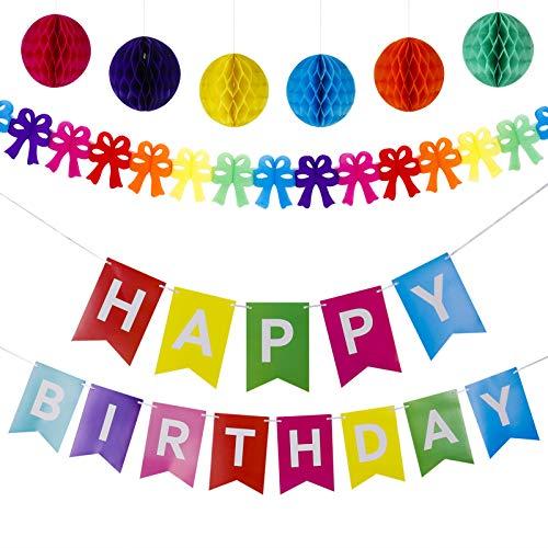 SUSSURRO Geburtstagsdeko Set mit Happy Birthday Banner, Wabenbälle und Bunt Bowknot Girlande für Kinder Erwachsene