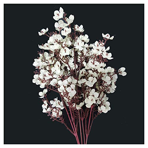 HETHYAN Silk Artificial Flowers For Decoration Home Plastic Stem Bride Wedding Bouquet Mariage Cherry Blossom Fake Flower DIY (Color : White)