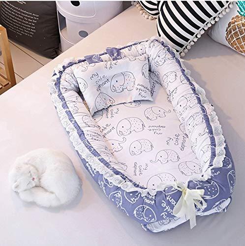 USTIDE Baby-Wiege mit niedlichem Elefanten-Design, 100 % Baumwolle, sehr weich, tragbar und leicht, perfekt zum Kuscheln, Liegen, 2-teiliges Kinderbett mit Kissen für Mädchen und Jungen