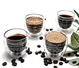 Espresso Cups Set of 4 – 2Oz Espresso Glasses – Premium Quality Double Wall...