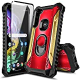 Moto G Power Case with Screen Protector (Tempered Glass), E-Began Magnetic Metal Built-in Ring Holder Stand, Full-Body Protective Shockproof Military Phone Case for Motorola Moto G Power -Red/Gold