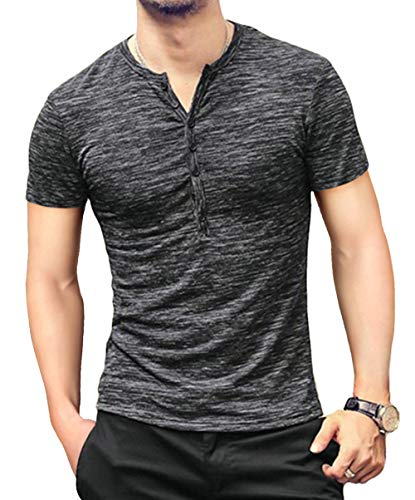 KUYIGO-Mens-Casual-Slim-Fit-Basic-Henley-Short-Sleeve-Fashion-Summer-T-Shirt