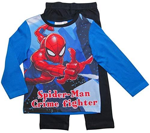Spiderman Marvel Schlafanzug Jungen Lang (Blau, 110-116)