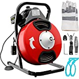 VEVOR 50FTx1/2Inch Drain Cleaner Machine Electric Drain Auger with 4 Cutter & Foot Switch Drain Cleaner Machine Sewer Snake Drill Drain Auger Cleaner for 1' to 4' Pipes