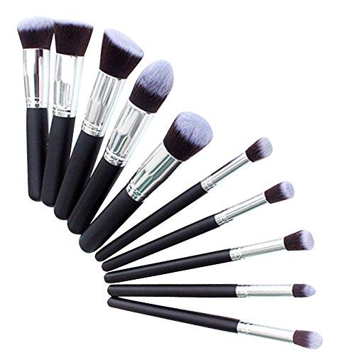 Snner Kit De Pinceau Maquillage Professionnel 10PCS Noir Eyebrow Shadow Blush Fond De Teint Anti-Cerne