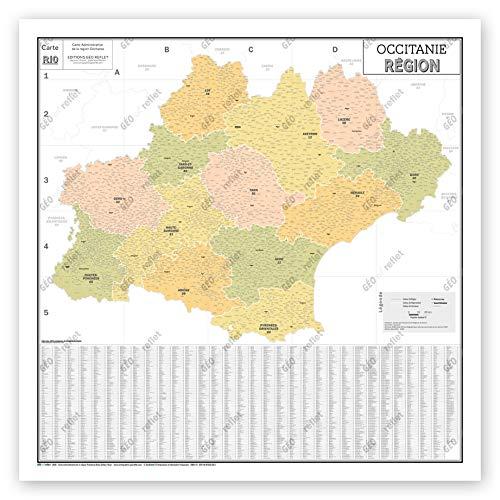 Mapa de Francia Murale – Mapa administrativo – Región Occitania – Modelo Vintage – Póster plastificado – Gran formato 120 x 120 cm
