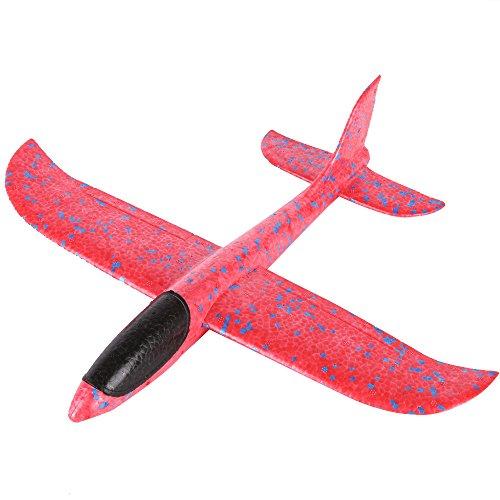Kinder Schaum Flugzeug, Manuelles Wurfgleiter Modell Styropor Flugzeug Outdoor Sport Spielzeug Geschenk für Kinder Party Bevorzugungen (Rot)