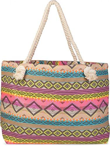 styleBREAKER Strandtasche XL im Ethno Style mit Rauten und Streifen Muster All Over Print, Schultertasche, Shopper, Damen 02012086, Farbe:Türkis-Gelb-Pink-Orange-Beige