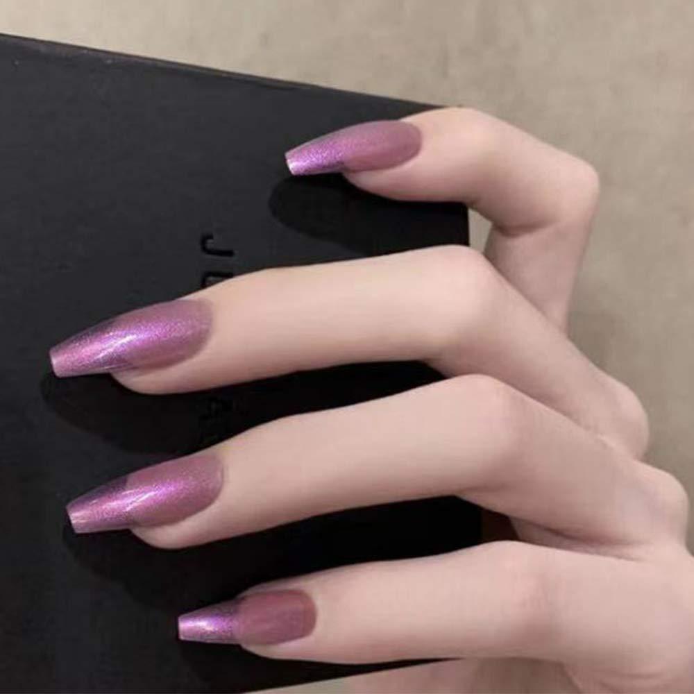 Feilisa Coffin Press on store Nails-Long Nails Women's Fake New York Mall Purple Bal