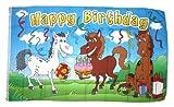 Fahne/Flagge Happy Birthday Pferde NEU 90 x 150 cm