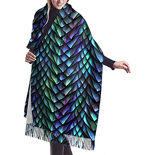 Pashmina Style Wrap Scarf Dragon Scales Casual Shawl Scarf Cashmere Winter Scarf For Women Men Shawl Wrap With Tassel Length 196 cm