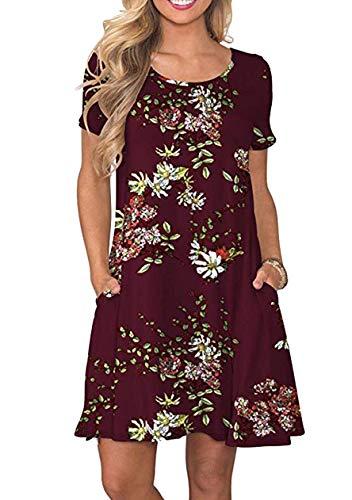 OMZIN Damen Sommerkleid Kurzarm Kurz Sommerkleid Elegant mit Tasche Freizeitkleid Weinrot Blumen M