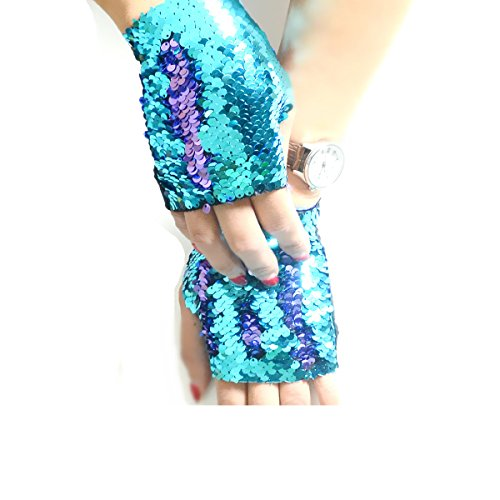 Sequin Gloves, 2 Color Magic Mermaid Fingerless Gloves Bracelet for Dance Birthday Party Favor Gifts, Decorative Reversible Charm Sequin Wristband for Kids, Girls and Women