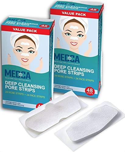 Tiras de poros para espinillas de limpieza profunda - Paquete de 96 removedores de espinillas despegables y tiras para desatascar los poros para nariz y cara, mentón, frente y piel más saludable