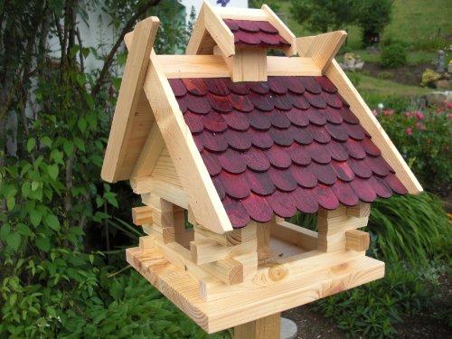 Vogelhaus Vogelhäuser (V02) Vogelfutterhaus Vogelhäuschen-aus Holz- Schreinerarbeit- Rot