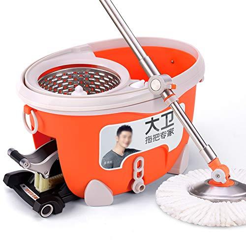 CLLC Huishoud-No handwas, microvezel mop en emmer set 4 mop doeken, kunststof, oranje