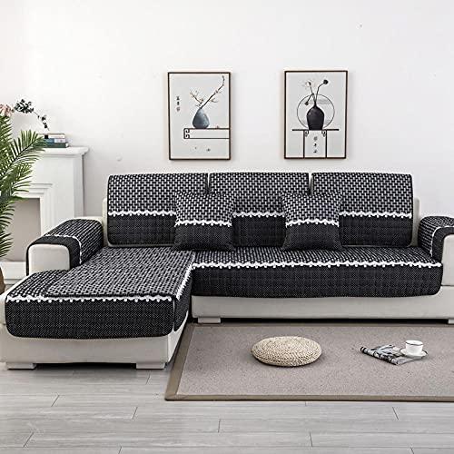 KENEL L Form Couchbezug, Sofahusse Couch Auflage Cover Grobspitze Sofa Kissenbezug Tuch für alle Jahreszeiten-70 * 150 cm_Schwarz-Verkauft in stück