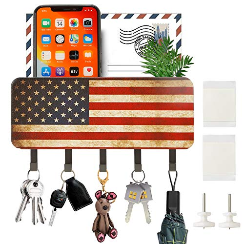 Key Holder for Wall Decorative,Mail Holder Mail Sorter Organizer Basket with 5 Key Hooks,Wall Decorative Key Rack Hangers for Entryway,Mudroom,Living Room(Blue American Flag)