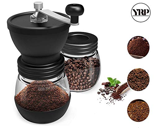 Best Quality - Manual Coffee Grinders - Manual Ceramic Burr Coffee Bean Grinder with Fortified Glass Storage Jar Durable Cafe Bean Mill Coffee Maker Kitchen Tools - by Tini - 1 PCs