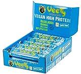Veety - Vegan High Protein Bar 30% Haselnuss - Veganer Protein Riegel - Superfood (Goji, Quinoa, Chia) Reis Erbse Hanf Protein Vegan Natural Raw Roh Made in Bavaria, 15 x 48g (Haselnuss)