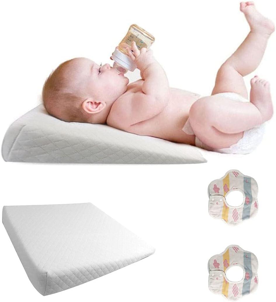 Muitar Almohada de cuña para cuna con funda de algodón extraíble impermeable para recién nacidos