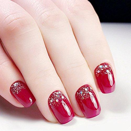 Jovono - Uñas postizas con brillantina, de acrílico rojo, elegantes, para boda, fiesta de cumpleaños, mujeres y...