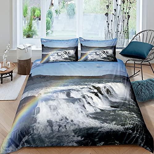 Loussiesd Cascada funda de edredón arco iris cubierta de edredón paisaje natural juego de ropa de cama para niños adultos 3D cubierta ultra suave doble ropa de cama cremallera