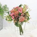 shjenleifa artificial rose gypsophila silk flower bouquet fake faux mix baby breath flower arrangement home decor party wedding table centerpiece decoration (pink)