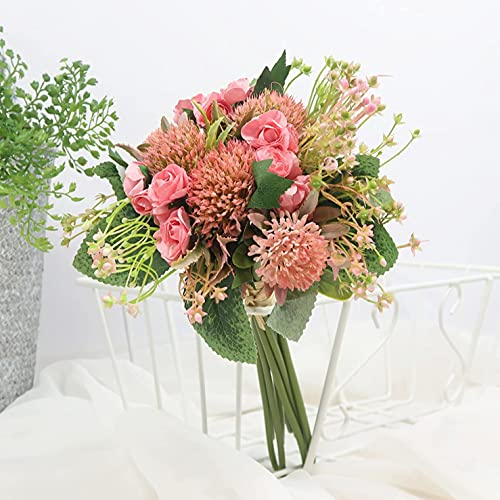 Shjenleifa Artificial Rose Gypsophila Silk Flower Bouquet Fake Faux Mix Baby Breath Flower Arrangement Home Decor Party Wedding Table Centerpiece Decoration (Pink) Silk Flower Arrangements