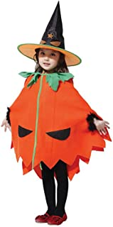 Halloween Girls Pumpkin Costume Orange Lantern Plush Outfit with Hat Fancy Dress Jumpsuit Kids Children