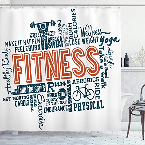 PatrickOgden Fitness Shower Curtain,Fitness Related Words with Retro Style Typography Active Lifestyle,Cloth Fabric Bathroom Decor Set with,Orange Blue with 12 plastic hooks 180x180cm