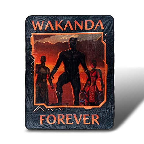 Marvel Black Panther Wakanda Forever Lightweight Fleece Throw Blanket | 45 x 60 Inches