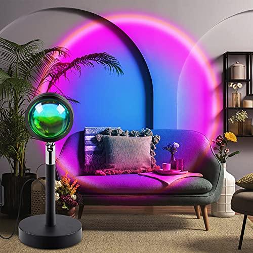 Sunset Lamp Sunset Lamp Sunset Projection Lamp, Proyector de luces con rotación de 180 grados, proyector USB, lámpara de pie moderna, para salón, fiesta, decoración (arcoíris