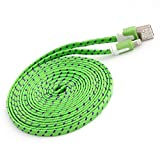 NTJ Flat Fabric Braided USB Data Sync Charging Cable for Apple iPhone 5, 5s, 5c, 6, 6 Plus, iPad 3, iPad Air 1,2, Mini 1,2 3, iPod Nano 7, Touch 5, (10 Colors Choices & 3,6,10ft) (Light Green (6FT))