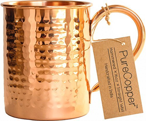 100% Copper Mug for Moscow Mule - 16oz Hammered Pure Copper Thick Straight Wall