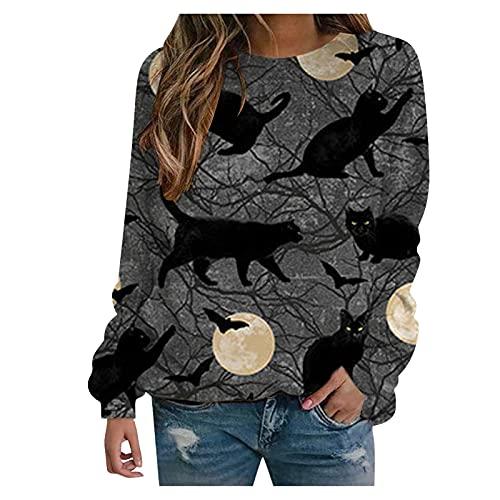 Forver Women's Sweatshirt Halloween Print Shirt Long Sleeve Sweatshirt Loose Pullover Top Blouse Tee Black